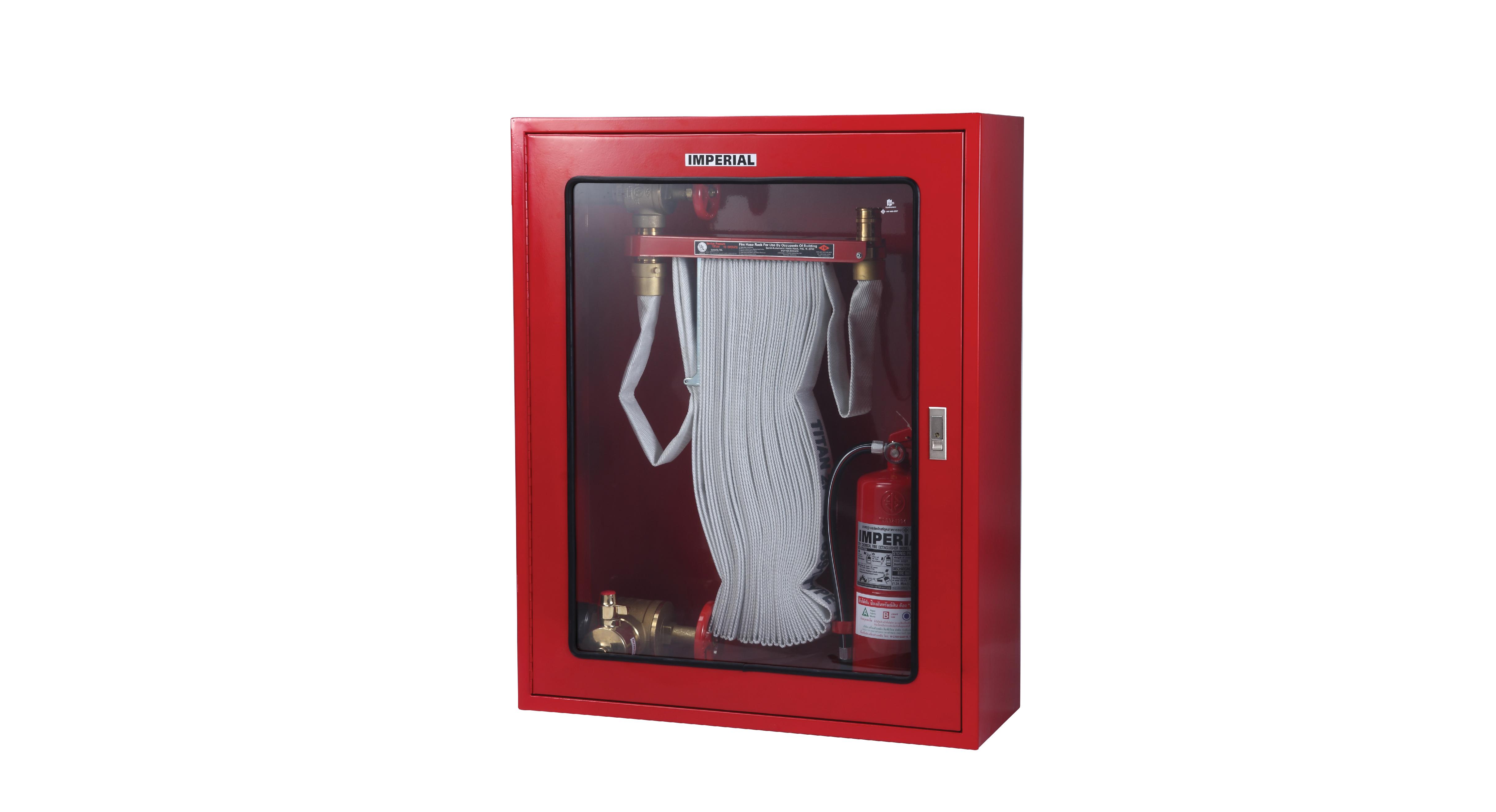 ตู้เก็บสายส่งน้ำดับเพลิงแบบ FIRE HOSE RACK และอุปกรณ์ดับเพลิง